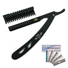 Salon Hair Shaper Razor Blade with Handle for Custom Shaping + 5 Blades Black