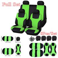 8Pcs Full Set Cloth Car Front & Rear Seat Cover Cushions Protectors Green/Black