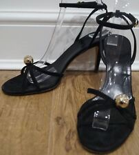 GUCCI Black Suede Gold Tone Diamante Crystal Ball GG Strappy Sandals 39C UK6