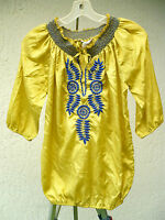 SATIN M BLUE PLATE EMBROIDERED SMOCKED GYPSY GOLD BLOUSE BOHO INDIA HIPPIE WOMEN