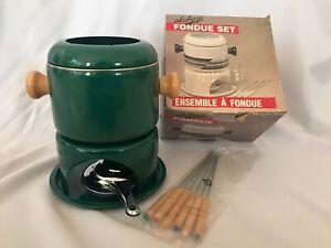 NOM Vintage Retro Auberge Hunter Green Fondue Set - All Original Packaging