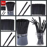 100 x Black Plastic Straws Biodegradable Drinking Flexible Bendy Birthday Party