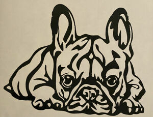 1x French Bulldog Vinyl Sticker Decal Car Camper Van Bumper 5x3.5in Black