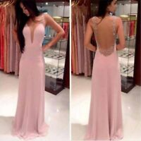 Pink Dress Long Bridesmaid Prom Womens Lace Party Formal Evening Cocktail EF WS