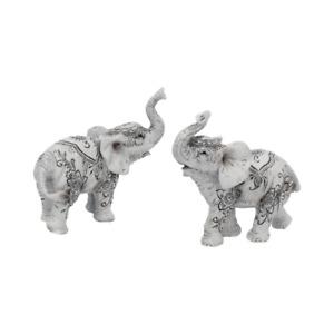 Henna Harmony (Set Of 2) 9.5cm Elephant Figurine Art Ornament Sculpture