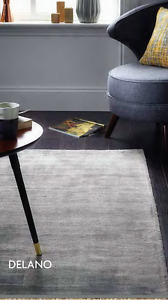 Origin Delano Hand Loomed Luxury Silk Viscose Velvet Rug Burnished Grey 3 Sizes