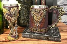 Dragons Lair Winged Dragon With Flame Blade Sword Drink Mug And Wine Goblet Set