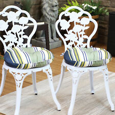 Sunnydaze Indoor/Outdoor Bistro Seat Cushions - Set of 2 - Earth Tone Stripes