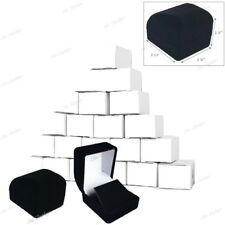 LOT OF 12 FLOCKED VELOUR EARRING GIFT BOXES BLACK EARRING BOXES JEWELRY BOXES