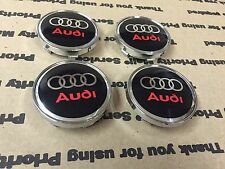 4Pcs New Red Audi TT A3 A4 A5 A6 A7 A8 Q3 Q5 Q7 S4 Black Center Hub Caps