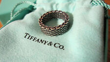 NEW Tiffany & Co. Somerset Mesh Oxidized Wide Ring Size 5 Sterling Silver 925