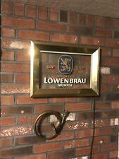 Vintage Lowenbrau Lighted Beer Sign Etched Glass