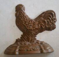 Brown Cast Iron Rooster Door Stop Rustic Kitchen