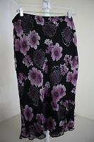 New York City Design Co. 100% Silk Multi-Colored Floral A-Line Lined Skirt Med