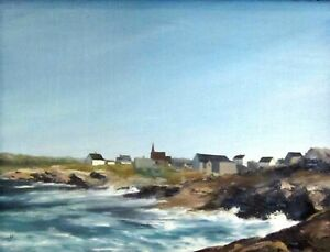 Vintage Coastal Oil Painting Peggy's Cove Halifax Nova Scotia Canada Signed!
