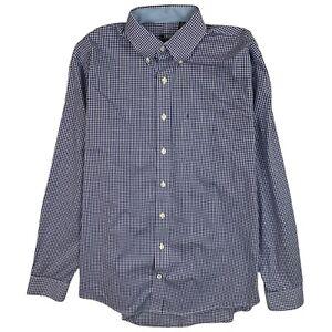 IZOD Mens Dress Shirt LT Blue Long Sleeve Button Front Stretch Check Plaid Tall