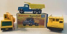 Matchbox 48 Dodge Dumper Truck W/ Original Box, 49 Crane And 58 Faun Dump Truck