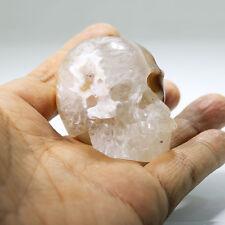 """2.18""""GEODE CRYSTAL AGATE Carved Crystal Skull, Realistic,Crystal Healing,N16"""