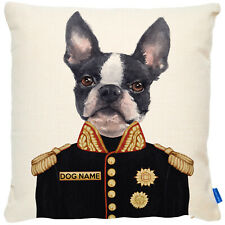 More details for personalised boston terrier cushion cover portrait dog uniform military fdc07