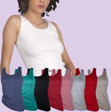 Damen lady Tank Top Shirt Baumwoll Hemd drüber + drunter T-Shirt Party Freizeit