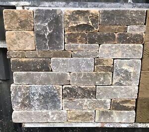 York stone, Random, tumbled and blackened Yorkshire sandstone walling stone