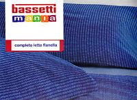 Completo Lenzuola Flanella BASSETTI. Singolo e Matrimoniale.  HOPE. Blu - Lilla.