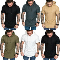 Men Slim Fit Athletic Gym Muscle Hoodies T-shirt Tops Sports Short Sleeve Blouse