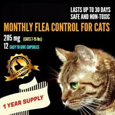 12 Monthly Capsules Flea Control 205mg Cats 7-15 lbs FAST FREE SHIPPING