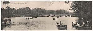 AUBURNDALE NEWTON Massachusetts PANORAMIC PC Postcard DOUBLE Weston Bridge MASS