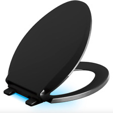KOHLER Bathroom LED Elongated Slow Closed Front Toilet Seat Lid Black Hardware