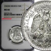 MEXICO ESTADOS UNIDOS MEXICANOS Silver 1943 M 50 Centavos NGC MS66 KM# 447 (046)