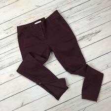 Loft Marisa Skinny Ankle Zip Pants Size 0 Womens Twill Stretch Purple