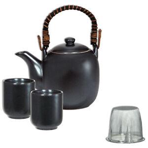 SET of 3 Japanese Porcelain Tea Pot Cups Strainer Set Black Metallic JAPAN MADE
