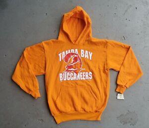 Vintage NWT Tampa Bay Buccaneers 1995 Youth Large Hoodie Pullover Creamsicle