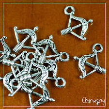 Tiny Bow & Arrow charms ~PACK of 10~ medieval archer archery weapon silver bead