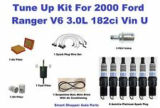 Tune Up Kit For 2000 Ford Ranger Spark Plug Wire Set, Air Oil Fuel Filter, Belt