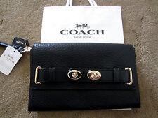 """COACH F53424 8.75"""" BLAKE BLACK Bubble Leather Clutch Wristlet Wallet $295"""
