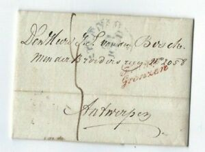 1836 Amsterdam Netherlands, Stampless to Antwerp, Franco Grenzen, Paid to Border