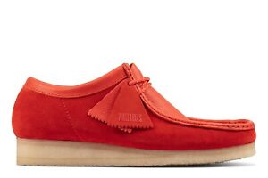 NEW MENS CLARKS ORIGINALS WALLABEE LIMITED EDITION RED COMBI SUEDE LOW TOP SHOES