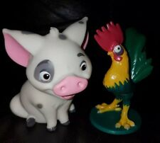 Pig Pua & Rooster Hei Hei 2pc Figure Set 3.5 in Tall Moana Pet Disney New