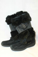 Nine West Womens Boots Leather Suede Rabbit Fur Mid Calf Boots Size 6M Used