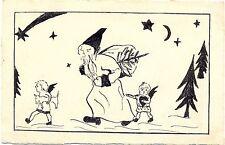 Weihnachten, Weihnachtsmann, Engel, handgemalte Karte, um 1920