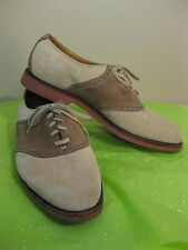 Cole Haan Sz 9.5D Tan and Cream Nubuck Suede Saddle Oxford made in USA