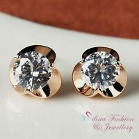 18K Rose Gold Plated Simulated Diamond Round Cut Stunning Flower Stud Earrings