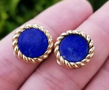 Van Cleef & Arpels Signed 14k Gold Lapis Lazuli Clip On Earrings