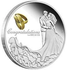 Australia 2020 Wedding 1 Oz Silver proof Coin w/ Crystal Embellishment Box Gift