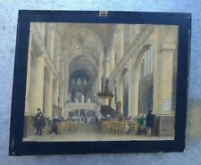 """Antique hand painted paper print 9,5x8"""", wood frame, scenes from Paris"""