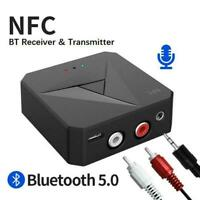 Bluetooth 5.0 Receiver 3.5mm Jack AUX NFC to 2RCA Audio Adapter Stereo Best D4C1