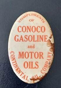 1920s Conoco Gasoline and Motor Oils Advertising Celluloid Sharpening Stone Hone