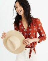Madewell Women's Size Small Silk Wrap Top in Fresh Daisies Print